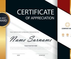 Red with blue certificate template design vectors 04