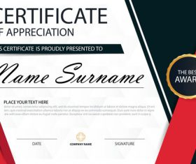 Red with blue certificate template design vectors 05