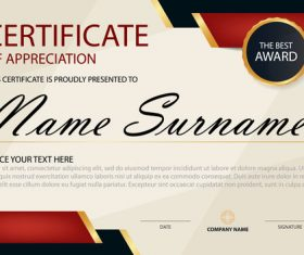 Red with blue certificate template design vectors 08