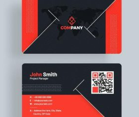 Red with blue company business card vector template