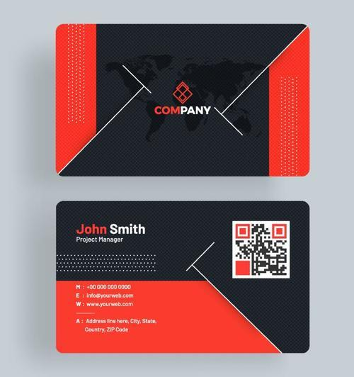 Red with blue company business card vector template free download red with blue company business card vector template reheart Images