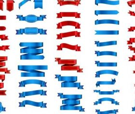 Red with blue ribbon design vector set