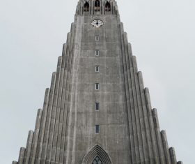 Retro church with high architecture Stock Photo