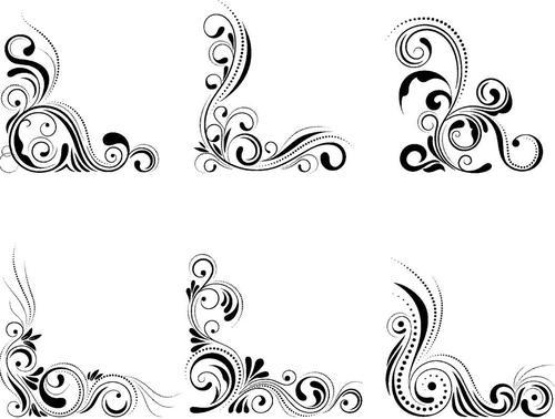 Retro corner ornament vector material 02
