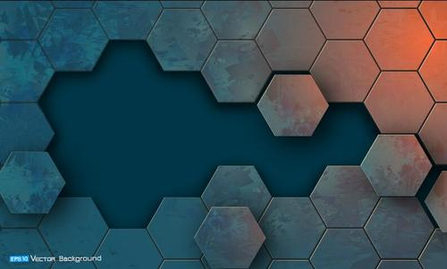 Retro metal hexagon background vector