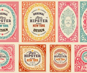 Retro styles hipster labels vectors 01