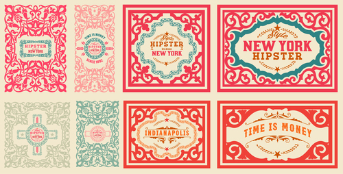 Retro styles hipster labels vectors 02