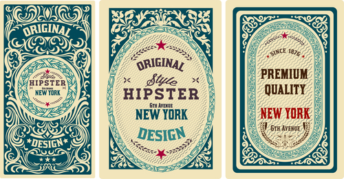 Retro styles hipster labels vectors 03