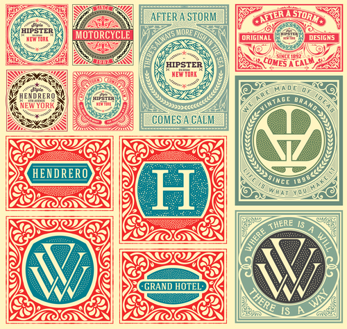 Retro styles hipster labels vectors 04