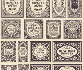 Retro styles hipster labels vectors 05