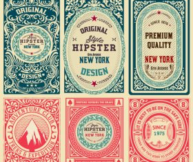 Retro styles hipster labels vectors 06