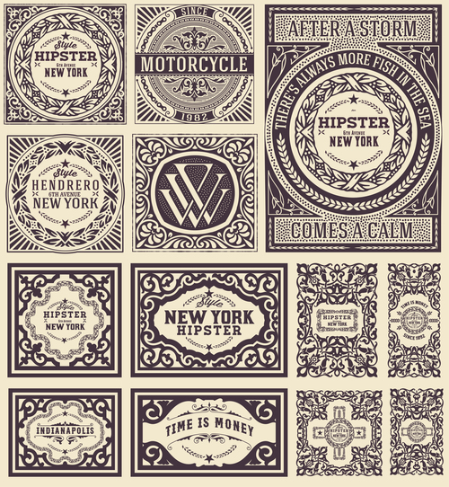 Retro styles hipster labels vectors 07