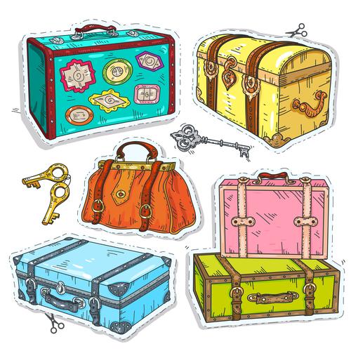 Retro treasure chest design vector
