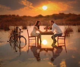 Romantic moments of couples Stock Photo