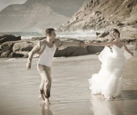 Romantic wedding photo by the sea Stock Photo
