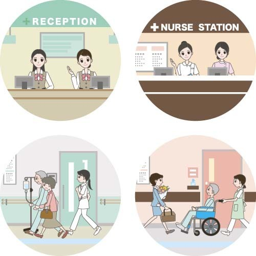 Round hospital icons vector 02