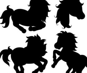 Running horse silhouette vector set 01