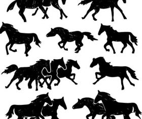 Running horse silhouette vector set 02