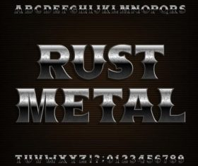 Rust metal number and alphabet vector design