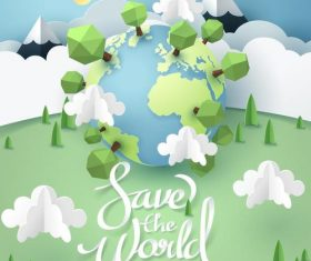 Save the world poster template vector