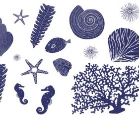 Sea biological blue silhouette vector
