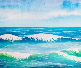 Sea wave watercolor painting background vector 01