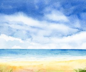 Sea with sky watercolor painting vector background material 01