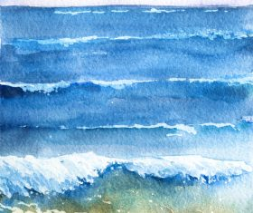 Sea with sky watercolor painting vector background material 02