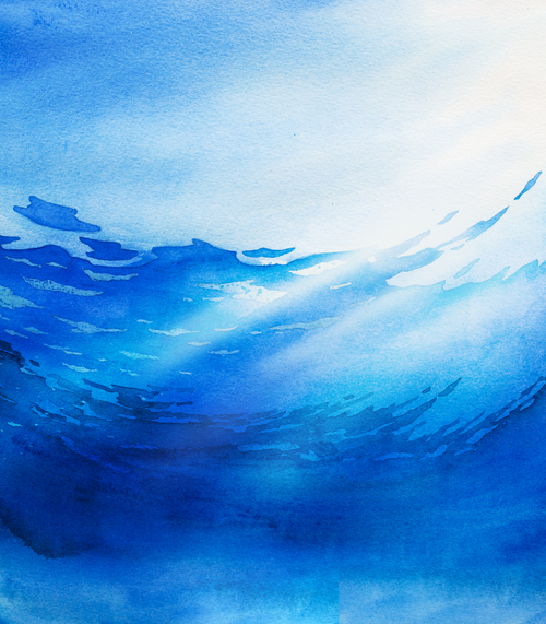 Seabed with sun watercolor painting background vector 02