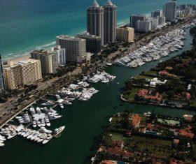 Seaside city marina Stock Photo