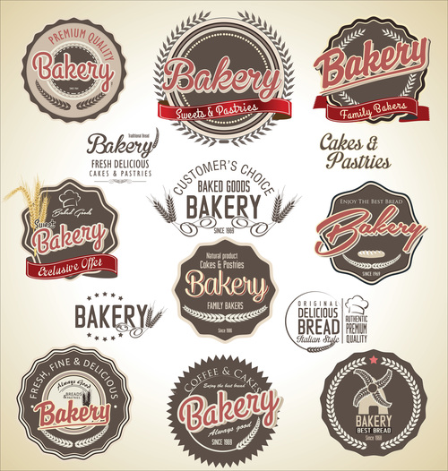 Set of retro bakery labels vector