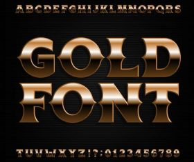 Shining golden number with alphabet vector