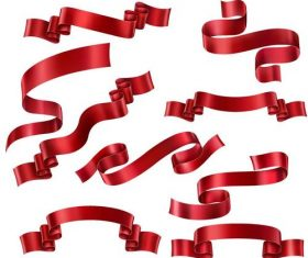 Shiny red ribbon design vector set