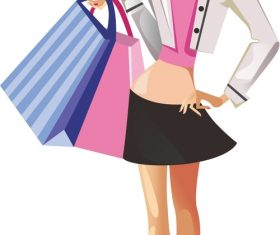 Shopping cartoon beauty vector