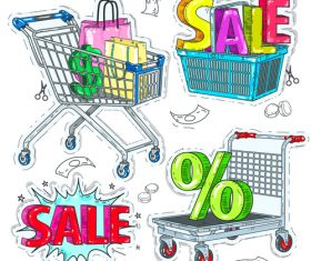 Shopping trolley with sale background vector