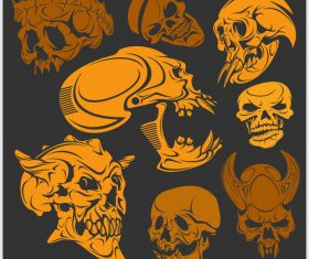 Skull head pattern for t-shirt vector 01