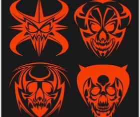 Skull head pattern for t-shirt vector 04