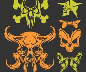 Skull head pattern for t-shirt vector 05