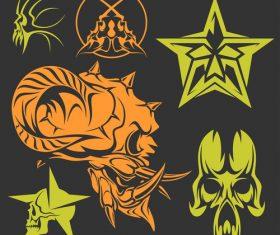 Skull head pattern for t-shirt vector 06