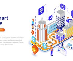 Smart city isometric concept template vector