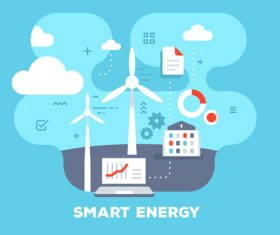 Smart energy flat template vector