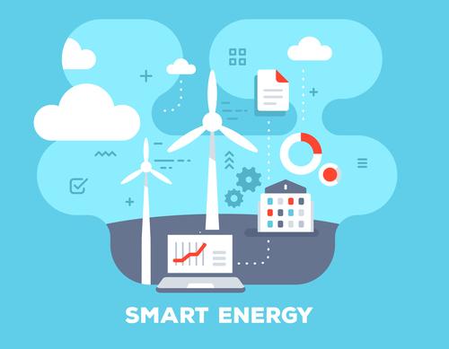 Smart energy flat template vector