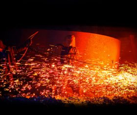 Smelter metal factory worker Stock Photo