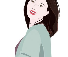 Smiling woman turning back vector