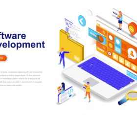 Software development isometric concept template vector