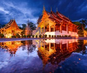 Solemn and magnificent Buddhist architecture Stock Photo 01