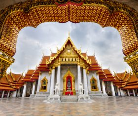 Solemn and magnificent Buddhist architecture Stock Photo 02