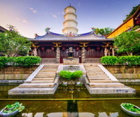Solemn and magnificent Buddhist architecture Stock Photo 03