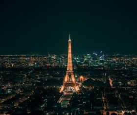Sparkling Eiffel tower in the center of the city Stock Photo