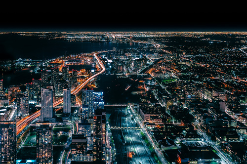 Sparkling modern urban scenery from height Stock Photo